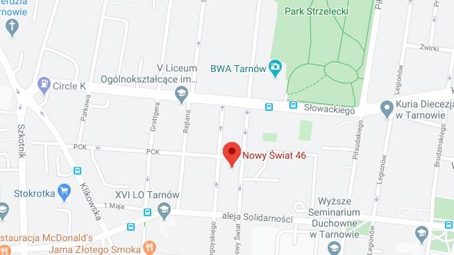 Mapa dojazdowa do Kościoła Chrześcijan Baptystów w Tarnowie